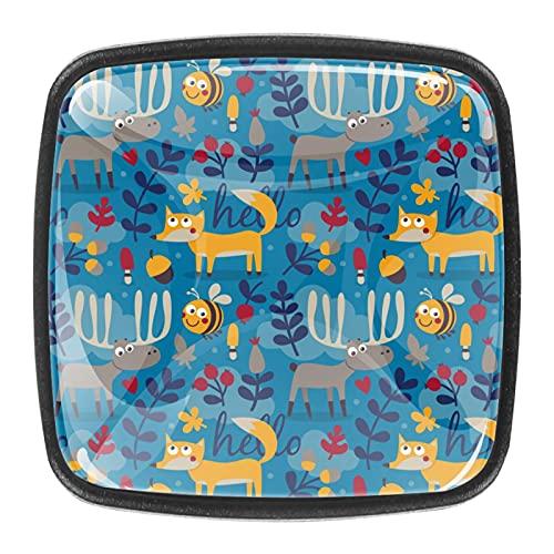Tiradores de cajones de cristal de 30 mm, tiradores de cajones para el hogar, cocina, armarios, zorros, ciervos, color azul