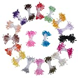 PandaHall Elite 1800 Pcs 3mm Pearl Flower Double Heads Stamens Pistil 2.36 Inches for DIY Crafts Decoration 18 Colors