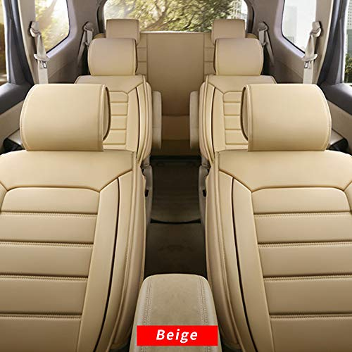 Car Seat Cover 7 Seats,for Most 7-Seats Universal Model Car Seat Protection,Classic Soft Waterproof Full Set PU Leather Car Front/Rear Seat Pads Beige