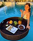 Floating Serving Trays Table Bar XLge Round - Swimming Pool Floats for Adults for Sandbars, Spas, Bath, and Parties | Floating Tray for Pool Serving Drinks, Brunch, Food on the Water - BROWN