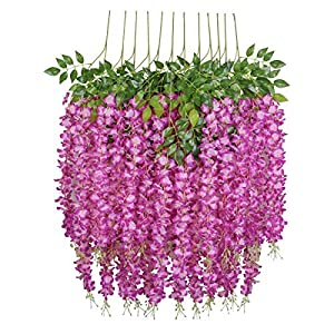 Pauwer 3.6 Feet/Piece Artificial Wisteria Vine Ratta Fake Wisteria Hanging Garland Silk Long Hanging Bush Flowers String Home Party Wedding Decor