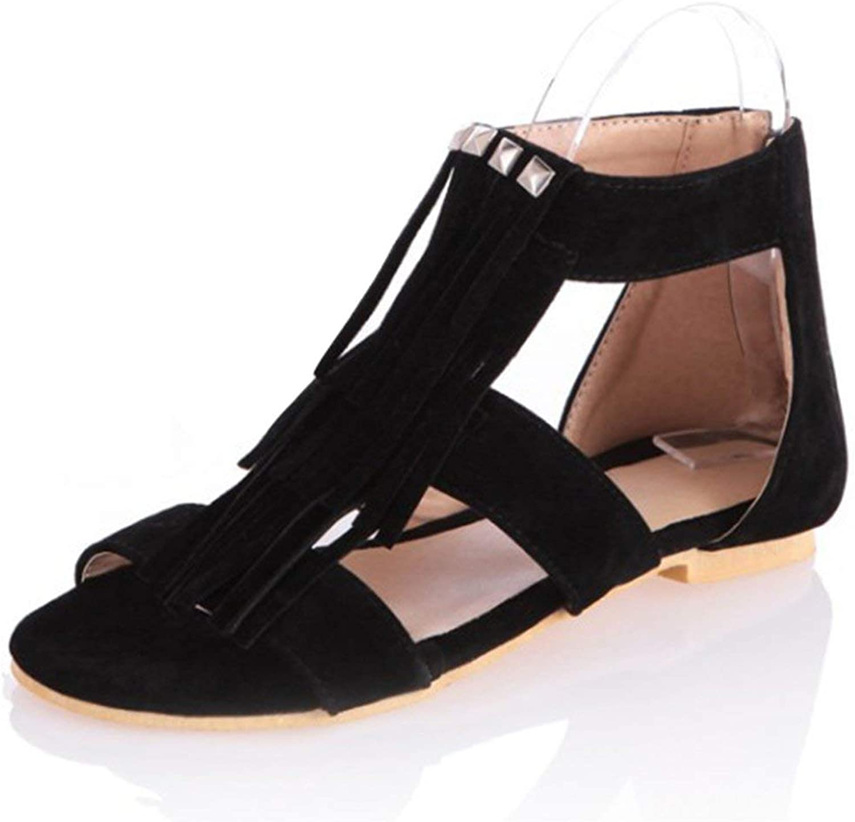 Gedigits Women's Trendy Fringe Rivets Studded Ankle Cuff Back Zipper Low Heel Gladiator Sandals Beige 7.5 M US