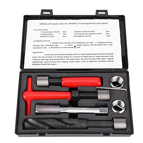Thread Repair Tool, Metric Thread Repair Kit, Twisted Drill Wrench Threaded Inserts Metric-Imperial for High Voltage Switchgear Car Auto Microwave Communication