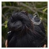 JSJJARD Mollette Capelli Luna Pentagramma Lotus Hair Colle per Capelli magici Misteriosi Gioielli per Capelli per Capelli per Regalo (Metallfarbe