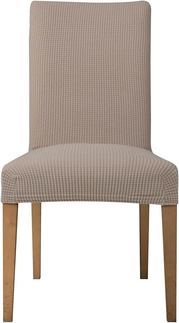 E EBETA Jacquard Fundas para sillas Pack de 4 Fundas sillas Comedor Fundas elásticas Cubiertas para sillas,bielástico Extraíble Funda, Muy fácil de Limpiar (Arena, 4 Piezas)