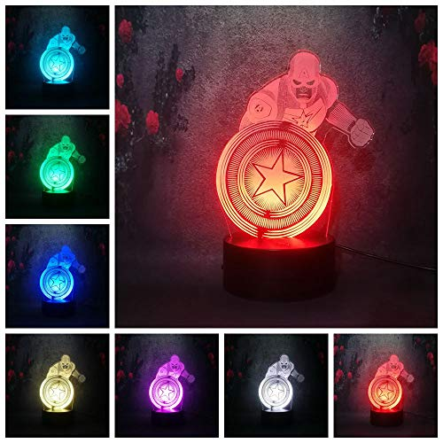 Lámpara de mesa 3D Super Desk America Captain Night Light LED Bombilla de lava USB Home Bedroom Atmosphere Ahorre energía Lámpara Lava