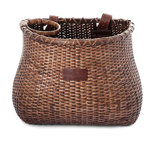 WARNERS WHEELS Bike Basket for Women's Cruiser with Coffee Cup Holder, Handmade Woven Bicycle Baskets mounts to Front Handlebars of Beach Cruisers or...