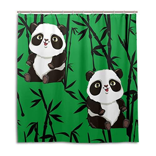 CPYang Duschvorhänge, schöne Tier-Panda, Banboo, wasserfest, schimmelresistent, für Badezimmer, Heimdekoration, 168 x 182 cm, mit 12 Haken