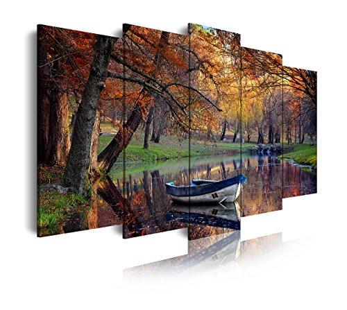 DekoArte - Cuadros Modernos Impresión de Imagen Artística Digitalizada | Lienzo Decorativo Para Tu Salón o Dormitorio |  Estilo Paisaje Otoño Agua Tonos Marrones Naturaleza | 5 Piezas 200 x 100 cm XXL