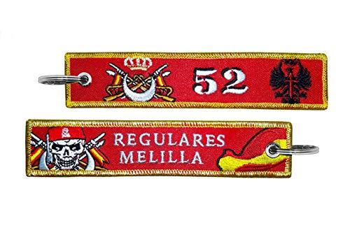 Llavero Bordado Ejército de Tierra Grupo de Regulares de Melilla nº 52 Militar Fuerzas Armadas Españolas