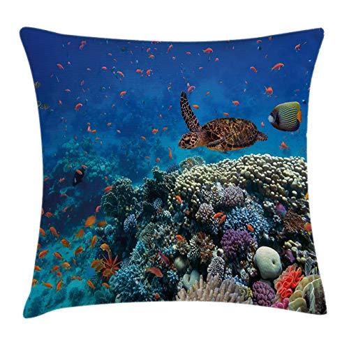 Funda de cojín para cojín de pescado, diseño de peces y tortugas en agua dulce sobre corales pedregosos, foto de vida salvaje, funda decorativa cuadrada de 18 x 18 pulgadas, azul