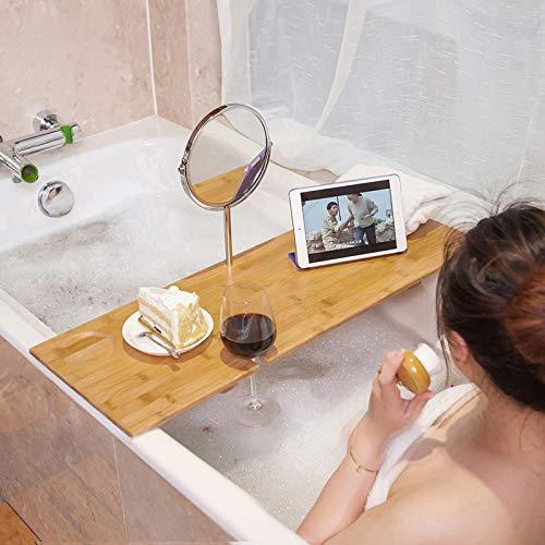 Support De Baignoire avec Miroir De Courtoisie, Support De Baignoire en Bambou, Support De Baignoire De Toilette Antidérapant, Support De Spa De Bain