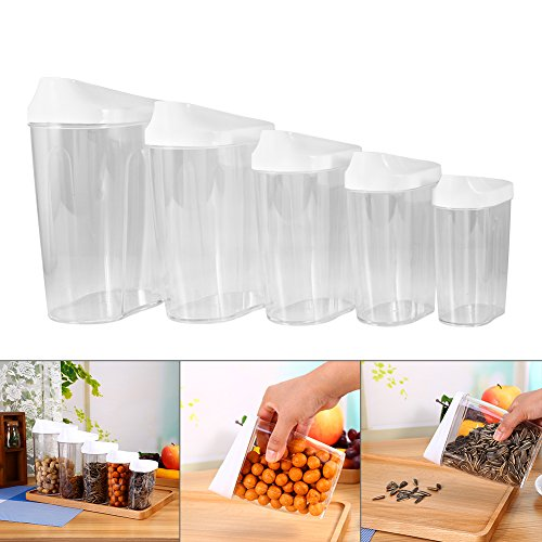 Yosoo 5-Piece Different Size Locking Clear Acrylic Plastic Food Storage Jars Canister Set Ideal for Sugar, Tea, Coffee, Rice, Pasta etc with Airtight Lids