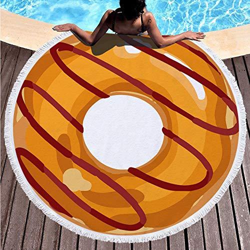SDFGS Toalla de Playa Redonda de Verano * Estera de Playa Hamburguesa de donas Toalla de Playa Microfibra Estera de baño Manta de Picnic