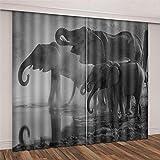 zhuifengshaonian Cortinas Opacas - Impresión 3D Elefante, Agua Potable, 150(H) X125(An) Cmx2 Paneles/Set - Cortinas De Dormitorio Y Sala De Estar Que Reducen El Ruido Y Ahorran Energía