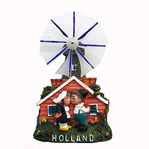 MUYU Magnet Windmill of Holland - Imán 3D para Nevera, diseño de Holanda, Viaje, decoración del hogar, decoración de Cocina, colección magnética