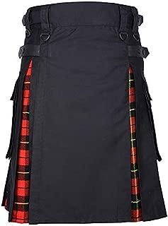 Men ' s Hybrid Utility Kilt Black & Irish Tartan Vintage Kilt Gothic Fashion Kendo Pocket Skirts Solid Stretchy Skirt