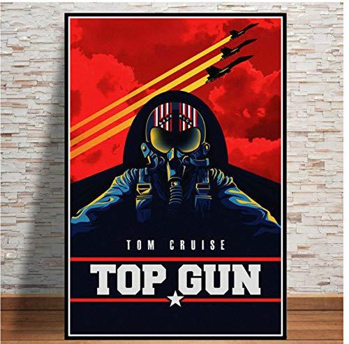N/S Affiche Affiche Top Gun Film Tom Cruise Film Bande Dessinée Et Impressions Peintures pour Salon Mur Décoration De La Maison Mode Impression Affiche 40X60Cm sans Cadre