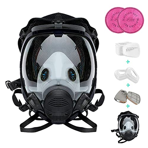Reusable Full Face Cover 17 in 1, JOEAIS Full Face Respirator, Paint Face Cover for Painting, Machine Polishing, Woodworking, Welding, Decoration Work, and Other Work Protection…
