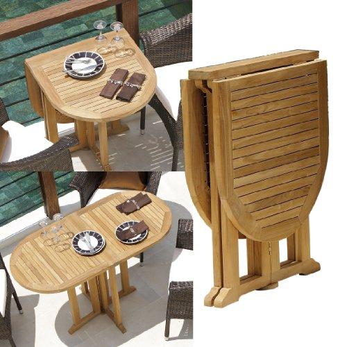 Klapptisch Destiny Tisch BALCONY Promo Teakholztisch Balkontisch ca. 120x60 oval (71033)