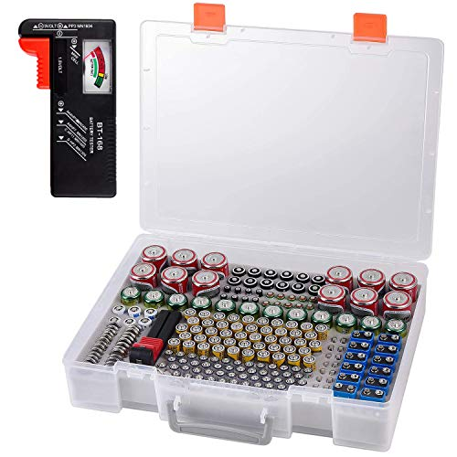 Battery Organizer Holder- Batteries Storage Containers Box Case with Tester Checker BT-168. Garage Organization Holds 225 Batteries AA AAA C D Cell 9V 3V Lithium LR44 CR2 CR1632 CR2032