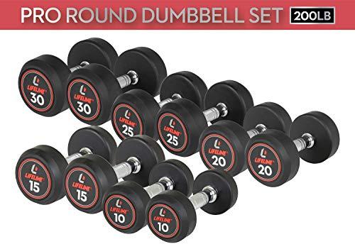 Lifeline 150 lbs Pro Round Rubber Dumbbell Set - Includes: 5lb, 10lb, 15lb, 20lb, 25lb Pairs