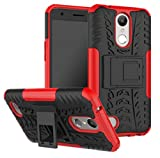 LG Aristo2 Shell, Awesome Armor Foldable Movie Stand Slim Funda, TAITOU New Ultra Hybrid 2 In 1 Thin Anti Scratch Drop Outdoor Sport Protect Phone Case For LG Aristo 2 Red