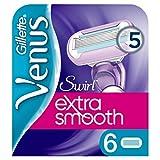Gillette Venus Extra Smooth Swirl Rasierklingen Damen mit Feuchtigkeitsstreifen für Hautschutz, 6 Ersatzklingen -