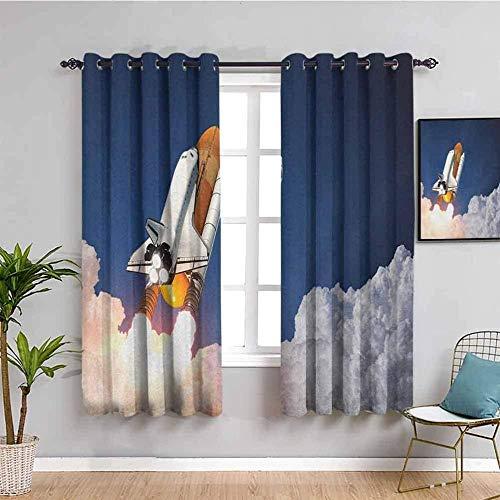 LucaSng Cortinas de Opacas - Azul Cielo Nubes Blancas Nave Espacial. - 280x160 cm para Sala Cuarto Comedor Salon Cocina Habitación - 3D Impresión Digital con Ojales Aislamiento Térmico Cortinas
