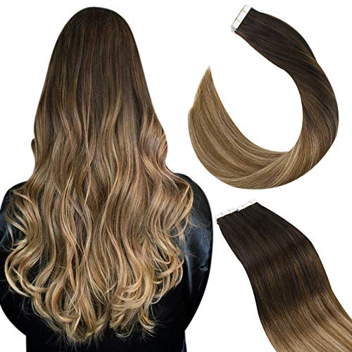 Ugeat Extension Capelli Veri Biadesivo Balayage 20Pollici Tape in Human Hair Extensions Biadesive #2/6/12 Marrone Scuro con Marrone Medio a Marrone Dorato 50g/20PCS