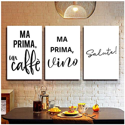 Terilizi koffie wijn citaten Italiaanse typografische druk keuken decor prost minimalistische bar muur kunst schilderij schilderij-40 * 60 cm zonder lijst - 3 stuks