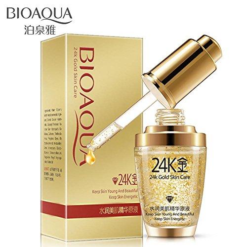 BIOAQUA Oil Control Hidratante 24k Gold Essence Body Foundation Crema antiarrugas 24K Gold Essence Antiarrugas Collagen Hydrate Hyaluronic Acid (30 ml)