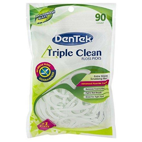 Dentek Floss Picks Triple Clean 90'S Bagged Mint (2 Pack) by DenTek
