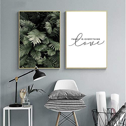 Nordic Ideas Set de 2 Affiches 30 x 40 cm Plante Verte Citation Poster Salon Decoration Peintures sur Toile Tableau Murale Chambre sans Cadre PTOF002-M
