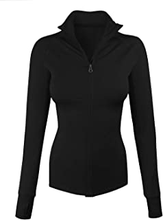 Women's Comfy Zip Up Stretchy Work Out Track Jacket w/Back Pocket