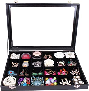 Wuligirl Clear Lid 24 Grid Jewelry Box Case Organizer Showcase Stackable Display Jewelry Removable Black Velvet Locked (24 Grid Box)
