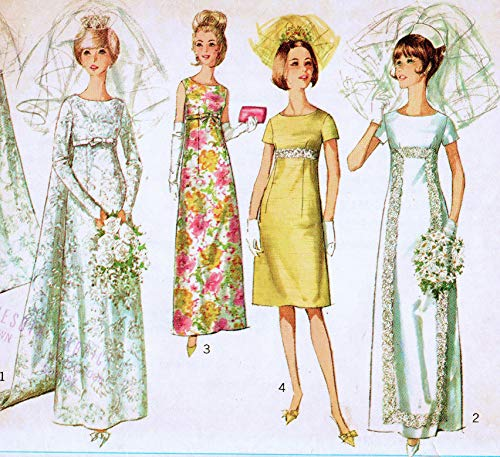 Simplicity 6352 Misses or Junior Wedding Gown with Detachable Train and Bridesmaid Dress or Evening Dress in Two Lengths Vintage Sewing Pattern