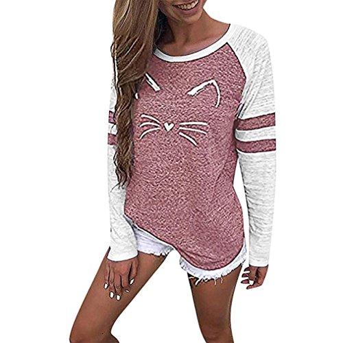 MORCHAN Femmes Dames Chat Impression T-Shirt à Manches Longues Tops Blouse(Rose,FR-40/CN-L)
