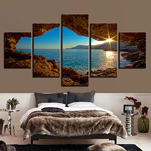 EIGYU Pintura 5 partesPaisaje del amanecerde Panel impresionesla decoración delpara Interiores de-with Frame-110x60Cm