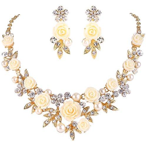 EVER FAITH Damen Kristall Creme Simulierte Perle Rose Blume Blatt Halskette Ohrstecker Set Klar Gold-Ton