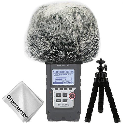 FIRST2SAVVV Nero Microfono Parabrezza Copertura Antivento Shell Cuffia Antivento in Pelliccia Sintetica per Microfoni a Fucile per Zoom H4n PRO + con pezza per Pulire + Mini treppiede