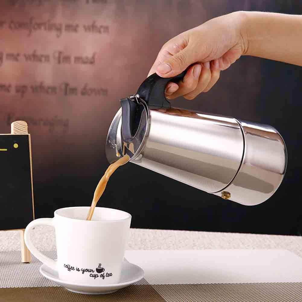 Acero Inoxidable Cafetera Eléctrica Encimera Máquina de Café Olla, 2 Taza Cafetera Espresso, Parte Superior Del Hornillo Cafetera Espresso, Máquina de Café, Moka Olla Café Cafetera - Plateado, 200ml: Amazon.es: Hogar