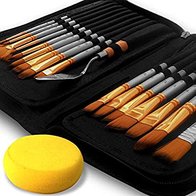 Benicci Paint Brush Set of 16 – 15 Different Shapes + 1 Flat Brush – with Pallete Knife and Sponge – Nylon Hair and Ergonomic Non Slip Matte Silver Handles - with Standable Organizing Case & Tin Box