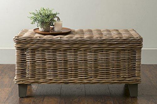 EAST at MAIN Hayward Brown Rectangular Rattan Coffee Table, (37x20x18)