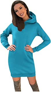 Hoodie Long Tunic Dress Solid Pullover Loose Sweater Hoodie Sweatshirt Long Tops Red Dress