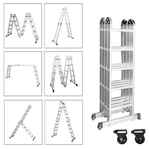 Froadp 550cm Aluminum Gerüst leiter Mehrzweckleiter Multifunktions Kombileiter Klappleiter Gerüst leiter mit 2 stück Plattform(Silber, 4×5 Stufen)