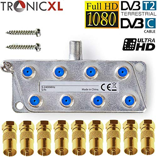 TronicXL 8fach Premium Koax Antennenverteiler HD 3D 4K Verteiler Weiche Splitter zb für DVBT DVBT2 DVBC SAT Unicable Kabelfernsehen Unitymedia Vodafone Kabel Deutschland Kabelfernseh 8er 8-Fach HDTV