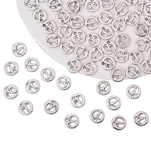 PandaHall Elite 80pcs Charms pendanti ciondoli di Impronta del in Lega Stile Tibetano per Braccialetti collane Orecchini bigiotteria Fai da Te, Argento Antico, 11x2mm, Foro: 2mm