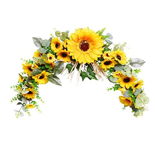LHSJY-DP Easter Garland, Artificial Yellow Sunflower Wreath Decorative Fake Flower Wreath Spring/Summer Wreath for Home Front Door Wall Wedding Holiday Decor,horns