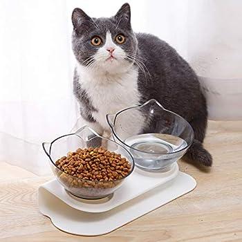 Aiboria Gamelles pour chat avec support surélevé, plateforme inclinée à 15 °, amovible, anti-déversement, bol d'arrosage pour chats et chiens de petite taille